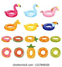 Pool inflatable cute kids toys set isolated on white background. Vector hand drawn doodle illustration. Flamingo, unicorn, giraffe, toucan, swan, duck, watermelon, pineapple water float rings.