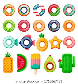 Pool inflatable rings and mattress set. Boys, girls floating funny toys. Vector illustration. Summer beach kids leisure elements. Fish, donut, USA flag, cactus, watermelon isolated on white background
