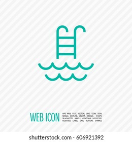 Pool isolated minimal single flat linear icon for application and info-graphic. Ladder line vector icon for websites and mobile minimalistic flat design.