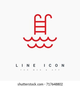 Pool ladder line vector icon