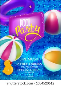 Pool party banner with inflatable toys and inflatable in swimming pool view above. Vector illustration