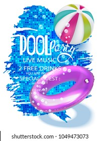 Pool party banners with inflatable bools in swimming pool view above. Vector illustration