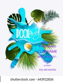 pool party composition in pool water and tropical leaves. Vector illustration