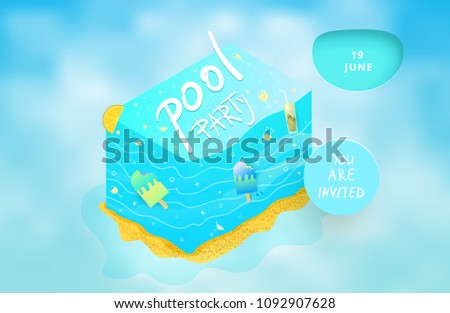 pool party flyer cloudy background template stock vector royalty