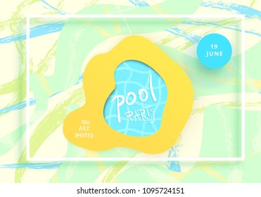 pool party flyer horizontal banner frame stock vector royalty free