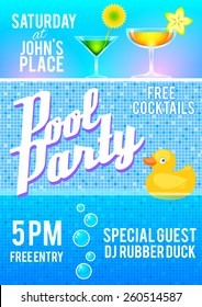 Pool party flyer template featuring cocktails, pool tile, bubbles and a rubber duck. Vector illustrattion.