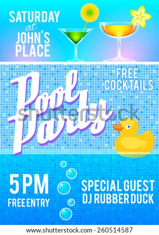 pool party flyer template featuring cocktails stock vector royalty