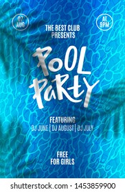 Pool Party Flyer. Template Poster Design with Water Ripple Texture, Tropical Leaves Shadow and Hand Writing Headline Text. Modern Summer Background