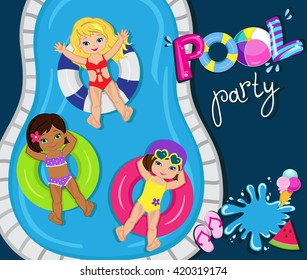 Pool party for girls. Vector Illustration.