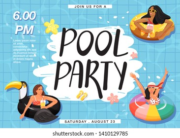 Pool party invitation banner. Women floating and sunbathing on inflatable ring in swimming pool. Creative lettering and checkered background. Summer rest and vacation. Vector illustration.