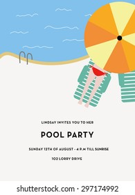 Pool party invitation card with a pool and a girl lying under a parasol with text. Vector and illustration design.