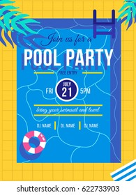 Pool party invitation concept. Vector summer illustration.