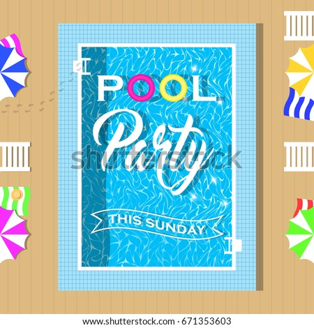 pool party invitation design template flyer stock vector royalty