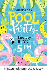 Pool party invitation. Flamingo pool float, cocktail, banana leaves, watermelon, pineapple and other hand drawn beach elements.