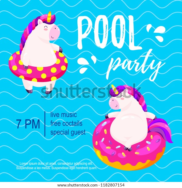 Pool Party Invitation Template Background Banner Stock Vector
