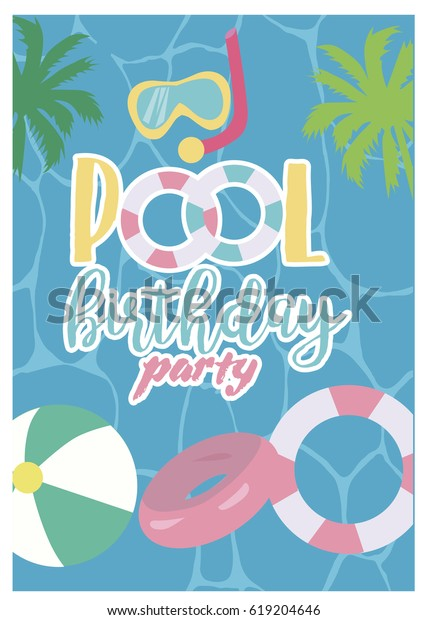 Pool Party Invitation Template Card Summer Stock Vector Royalty