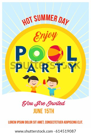 Pool Party Invitation Template Kids Summertime Stock Vektorgrafik