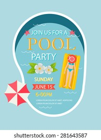 Pool party invitation  with top view of pool, vector illustration. Flyer of pool party. Vector  poster for party