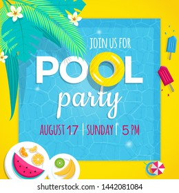 Pool party invitation vector illustration Flayer tamplate. Top view of swimming pool background with tropical palm leaves , pool floats, tropical fruits and ice cream popsicle.