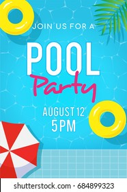 Pool party invitation vector illustration, Top view of swimming pool with yellow inflatable ring floating on water.