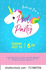 Pool party invitation vector illustration. Swimming pool with Cute unicorn pool float and floating on water