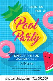 Pool party invitation vector illustration. Swimming pool with Pineapple pool float and pink inflatable ring floating on water.