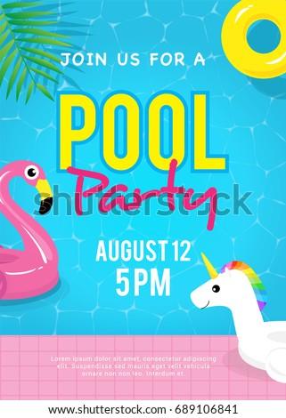 pool party invitation vector illustration swimming stock vector
