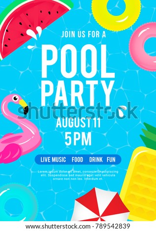 Pool Party Invitation Vector Illustration Top Stock Vector Royalty