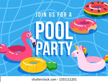Pool party poster, flyer, banner, invintation. Swimming pool background and inflatable swimming pool rings, tubes, floats in shape of flamingo, unicorn, pineapple, donut, watermelon.