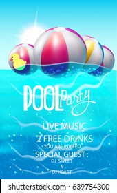 Pool party poster with inflatable balls and rubber toy in swim pool water.  Vector illustration