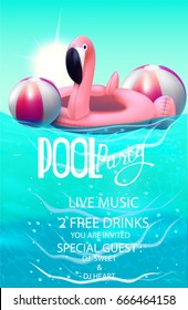 Pool party poster with inflatable balls and flamingo in swim pool water.  Vector illustration