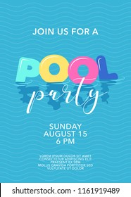 Pool party poster with inflatable rings in swimming pool vector illustration. Template design element for summer beach party