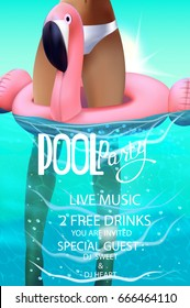 pool splash vector. Beautiful Pool Pool Party Poster With Inflatable Toy And Girl In Swimming Pool Water  Vector Illustration Inside Splash