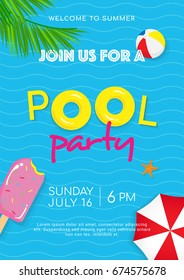 Pool party poster vector illustration, Pool toys, yellow rubber ring, sun umbrella and ball floating on water.