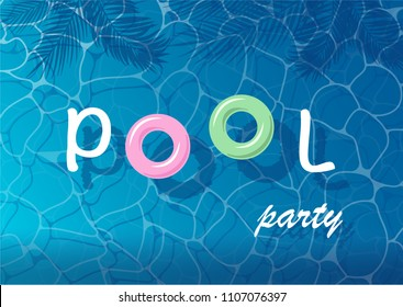 Pool party poster with water ripple, tropical leaves and text, card, background