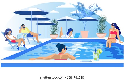 Pool Party Rest Summertime Vacation Invitation Flat Banner Vector Cartoon People Having Fun Informal Conversation Relax Sunbathing Using Laptop for Watch Videos Listening to Music Illustration