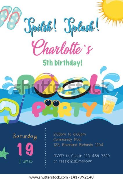 Pool Party Summer Birthday Invitation Card Stock Vector