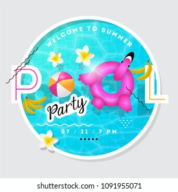 Pool party summer vector illustration