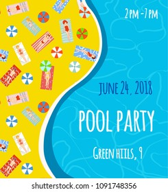 Pool patry banner or poster with bright design, vector graphic illustration