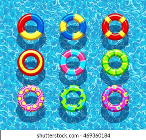 Pool rings on the blue ocean water background vector illustration