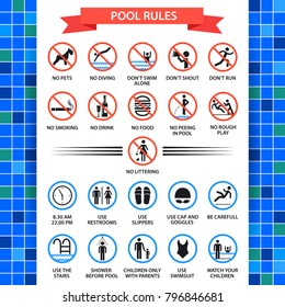 Pool rules poster. Swimming pool safety inspectors guide, rules of conduct and instructions. Vector flat style cartoon illustration isolated on white background