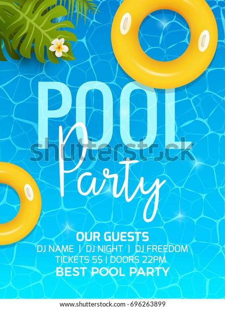 Pool Summer Party Invitation Template Stock Vector
