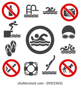 Pool swimming vector signs on white background.