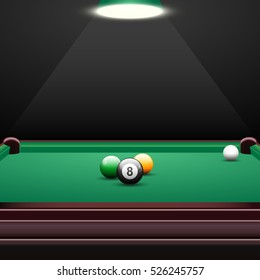 Pool table background with billiards balls, realistic design