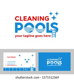 Pools Logo Concept, Swimming Pool Cleaning Service and Business Card Template. Clever Typography Logo Design Vector