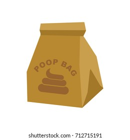 Poop bag. Bag for canine shit isolated. Vector illustration