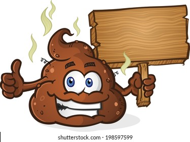 Poop Cartoon Character Holding Sign