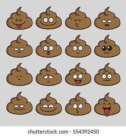 Poop Cute Cartoon Set Emoji Vector Illustration