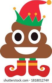 Poop emoji christmas santa vector