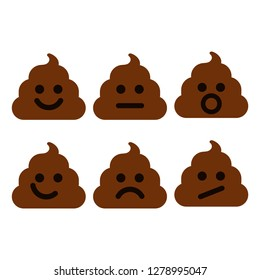 Poop emoji set. Shit figure, character collection. Pin, patch, stamp, icon, sticker. Vector illustration isolated on white background.